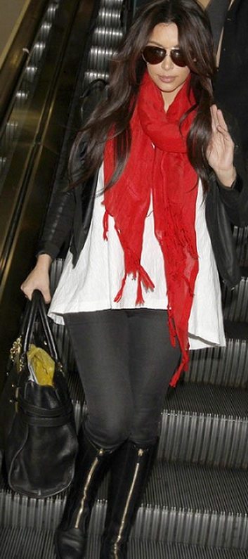 Kim Kardashian wearing Love Quotes Scarves Italian Linen/Viscose with Hand Knotted Fringe