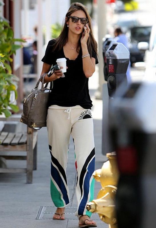 Alessandra Ambrosio wearing Day By Day Stripe Sweatpant