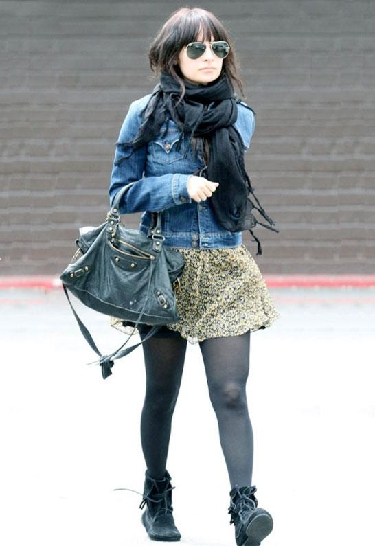 Nicole Richie wearing Love Quotes Scarves Italian Linen/Viscose with Hand Knotted Fringe